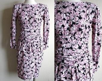 Vintage 90s Peplum Dress - L. Rothschild - San Francisco - Floral 90s Dress - Designer Vintage - Knee Length - Black and Purple - S/M