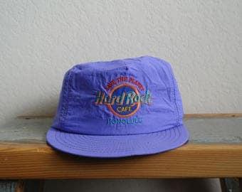 Vintage Hard Rock Cafe Snapback Hat - 90s Neon Snapback Hat - Hard Rock Cafe Honolulu Hawaii - Mens Hat - Womens Hat - Neon Purple - 90s Hat