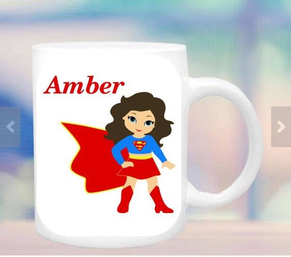 supergirl  cup #2 for girls, girl hero mug, super hero mug, cup for a girl, personalized girl mug, customized girl mug, hero figure for girl