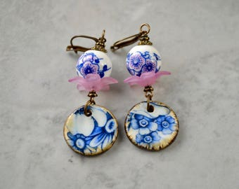 Boho Dangle Earrings, Blue Flower Earrings, Flower Drop Earrings, Delft Jewelry, Blue & White Porcelain, Ceramic Earrings, Bohemian Jewelry