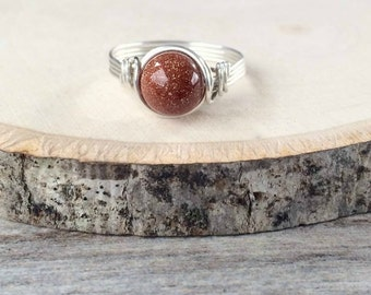 Goldstone Ring, Brown Gold Stone Ring, Sterling Silver Wire Wrapped Ring