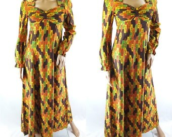 Vintage 1970s Prairie Empire Line Maxi Dress Hippy Festival Hippie Peasant - Size 10