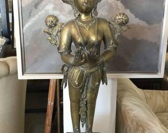 Brass Thai Goddess Figure