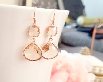 Bridesmaid Gift  Gold Champagne Blush Earrings, ROSE GOLD Peach Pink Earrings, Bridesmaid Earrings, Bridal Earrings, Wedding Earrings