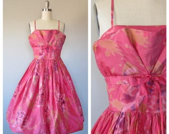 vintage 1950s silk party dress size xs