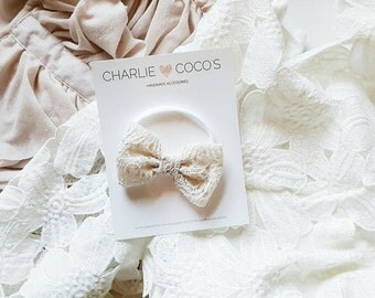 Baby/Girls Lace Bow Headband, Cream Lace Hair Bow Clip, Ivory Cream Lace Hair Bow by charliecocos