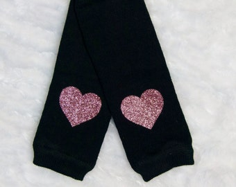 Newborn Baby Girl Leg Warmers Black Pink Glitter Heart Leggings Baby Girl Clothes Photo Prop Newborn Baby Toddler Sizes