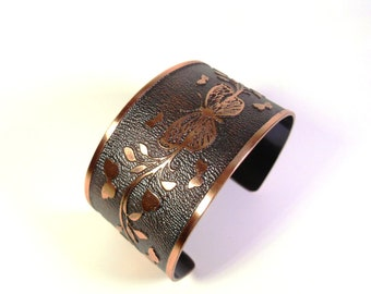 Butterfly Bracelet Cuff, Etched Copper Jewelry, Fluttering Butterflies, Garden Gift, Copper Bracelet Gift, Ready to Ship, Spring and Summer