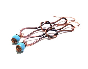 Love Knot Long Drop Earrings with Turquoise, Copper Earrings, Infinity Square Knot, Celtic Knot, Copper Knot, Free Shipping, Ready to Ship