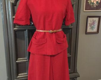 40s Red Bobbie Brooks Wool 2pc Set