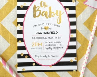Oh Baby black and white shower invitation, gold confetti invitation, gold shower invite, black and white striped invitation, bridal shower