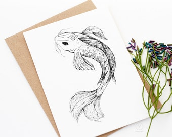 Koi Fish Him / Koi Carp Card / Animal Illustration Card / A6 Greeting Card / Art Card