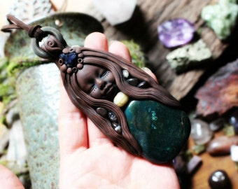 Phantom Quartz, Bloodstone and Azurite Goddess Pendant Necklace