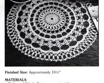 "Vintage Crochet Pattern ""Rondelay"" - from Leisure Arts 'Elegant Crocheted Doilies' Leaflet No 972"
