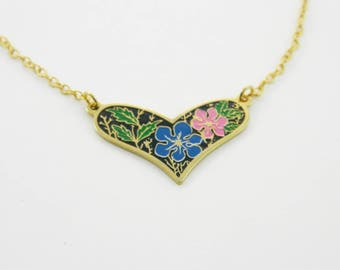 60s Floral Print Heart Necklace - Blue and Pink Flowers