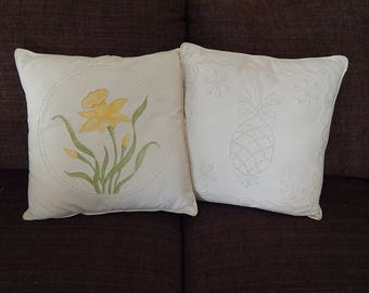 Vintage Candlewick Pillows Pineapple Daffodil Handmade. Vintage Accent Piece Home Decor.