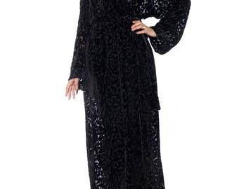 Black Velvet Burnout Robe Size: Free