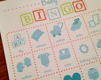 Baby Shower Bingo Game Cards - Set of 10