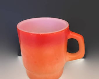 Vintage Orange Fire King Mug Stacking Retro Funky Kitchen Coffee Cup Graduated Colors Orange and Red Anchor Hocking