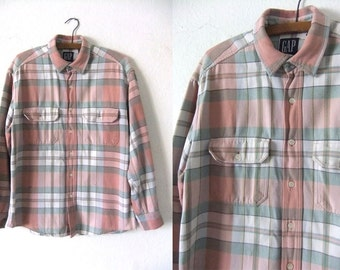 Pastel Plaid Button Down Shirt - 90s Surfer Style Distressed Soft Washed Long Sleeve Over Shirt - Mens Medium