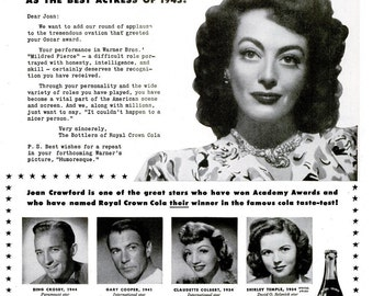 Joan Crawford 1945 Academy Award Best Actress in 1946 Royal Crown Cola Ad Hollywood Shirley Temple Claudette Colbert Gary Cooper Bing Crosby
