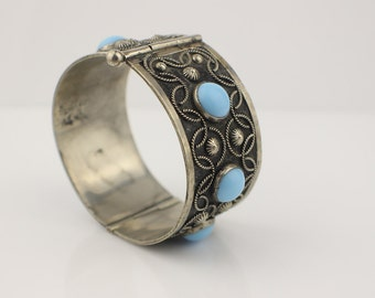 Silver Tone Solid Wide Hinged Bangle Bracelet with Rope Style Decoration and Pale Blue Cabochons