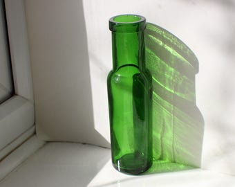 Small Vintage Dark Green Glass Apothecary Medicine Bottle with Cork Style Top Hinge Moulded