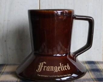 Frangelico Liqueur Ceramic Coffee Mug - Spill Proof Wide Bottom - Collectibles - Brown Glazed - Italy - Hazelnut Liqueur