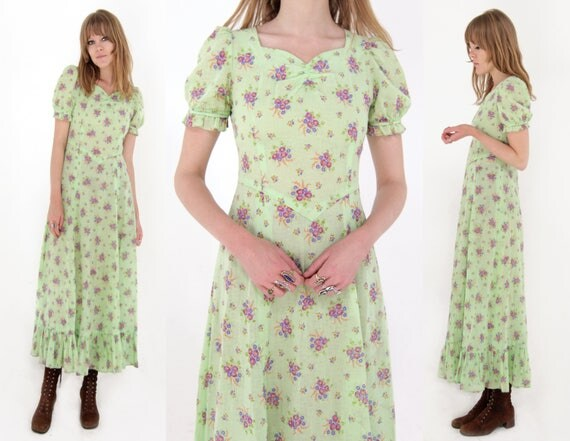 Vtg 60s Folk Floral Maxi Dress S/M