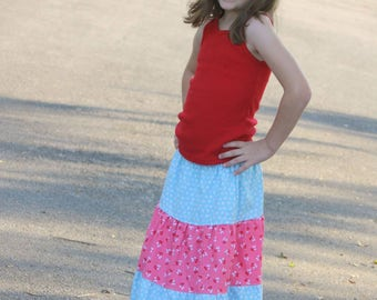 Girls Easter Skirt - Girls Maxi Skirt - Spring Ruffle Skirt - Girls Blue Skirt - Girls Pink Skirt  - Boutique Skirt - Girls Fashion