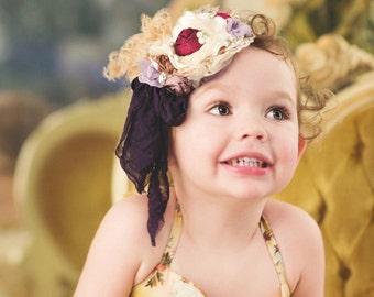 NEW! Ivory Cream Nude neutral berry plum purple Flower Headband handmade Bow, Feathers, Handrolled silk rosettes, Pearls, Lace Veiling