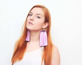 MOVEMENT 5 /Tassel earrings-oversized earrings-leather tassels-metal statement earrings-pink earrings-ethnical tribal earrings-Ready to Ship