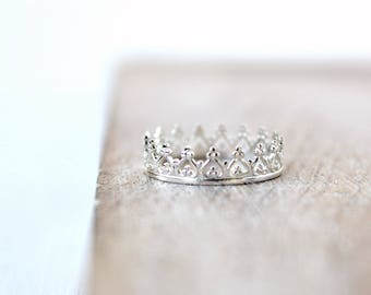 Sterling Silver Crown Ring Minimalist Dainty Jewelry Tiara Ring Gift for Her Thin Band Stacking Ring Delicate Princess Ring