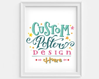 Custom poster in hand lettering: quote, bibliography or book poster. Made to order.