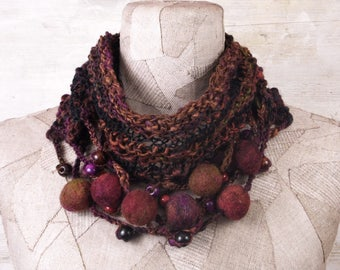 Art knit infinity scarf necklace, knit boho loop, Hand Knitted wrap, purple black green, Bohemian clothing, Gypsy shawl, rope wool felt gift
