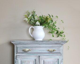 Silk Flower Arrangement, Floral Arrangement, Farmhouse Decor, White Glass Pitcher, Floral Arrangement, Silk Flowers, Farmhouse, Greenery