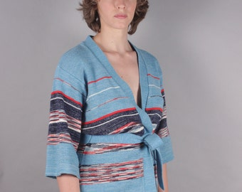 70s Sky Blue Space Dyed Striped Bell Sleeve Wrap Sweater w Belt