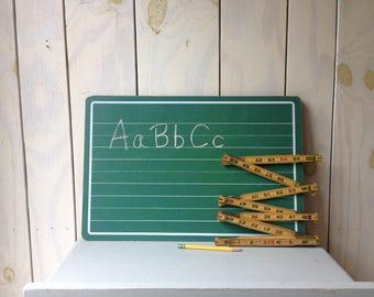Vintage Green Chalkboard, Set of Green Schoolhouse Chalkboard, Script writing lines.