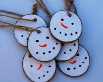 Ornaments, 8 piece set, Birch wood slice snowman ornament's