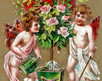 Cupids holding flowers and burning heart, Love, Valentine, Instant Digital Download, Printable Vintage Postcard