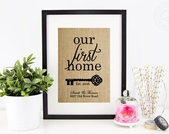 Our First Home Burlap Print | Personalized Address Sign | New Home Housewarming Gift | House Warming Gifts | New Homeowner | New House Gift