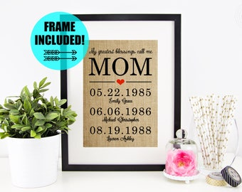 FRAME INCLUDED! Mother's Day Gift Idea | Personalized Mother's Day Gift From Daughter | Mother's Day Gift from Son | Mom Gift for Mom