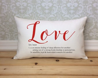 Love Defined Pillow, Custom Love Definition, Valentines Day Pillow, Decorative Pillow, Wedding Gift, Home Decor, Valentines Day Gift