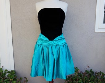 90s Black Party Dress, Teal Party Dress, 80s Party Dress, Strapless Dress, Black Velvet Dress, Full Skirt, Short Party Dress, Holiday