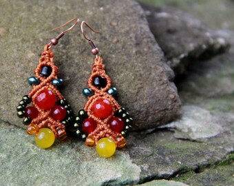 Macrame beaded earrings orange yellow