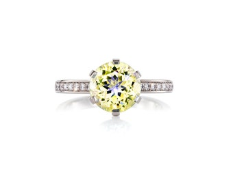 Yellow beryl solitaire engagement ring made from white gold, diamond ring, yellow gem ring, vintage, custom, beryl engagement ring, diamonds