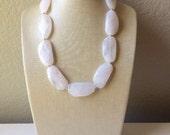 Single Strand White Big Beaded Statement Necklace, white Jewelry, white beaded necklace, white beaded necklace, bridesmaid necklace
