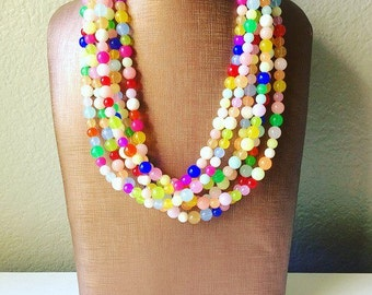 Colorful Statement Necklace, Chunky Beaded Necklace, colorful Jewelry, rainbow necklace, multi color Necklace, beaded necklace jewelry
