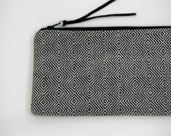 Modern Clutch Hand Woven in White and Black - Just Right!