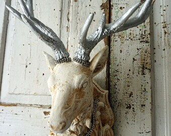 Buck head wall mount shabby cottage chic white w/ pewter silver deer figure embellished rhinestones w/ tole rose decor anita spero design